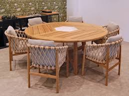 b b italia ginestra outdoor round dining table and 6 dining chairs teakwood