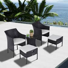 outdoor furniture wicker. Delighful Wicker Outsunny 5Pc Rattan Coffee Set Outdoor Garden Furniture Wicker Weatherproof Throughout R
