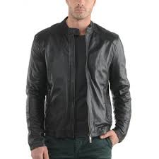 mens genuine slim fit black biker leather jacket