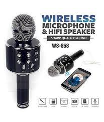 <b>WS</b>-<b>858 Wireless Bluetooth</b> Karaoke <b>Microphone</b> with inbuilt ...