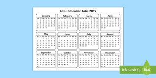 Mini Calendar Tabs 2019