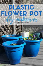 diy plastic flower pot makeover