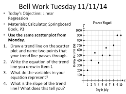 bell work tuesday 11 11 14 today s objective linear regression materials calculator
