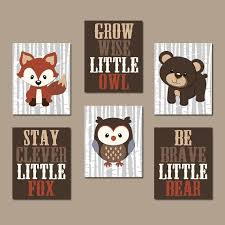 woodland nursery wall art woodland decor birch wood forest animals carter forest friends owl fox bear canvas or prints set of 6 quotes on forest animal nursery wall art with woodland nursery wall art woodland nursery decor carter forest