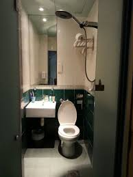 very small bathrooms. park 22 hotel: very small bathroom. showerhead is just above toilet seat. bathrooms g
