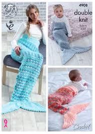 Mermaid Blanket Crochet Pattern Fascinating King Cole Mermaid Tail Blankets Crochet Pattern 48