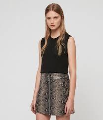 womens lena oba leather skirt snake grey image 1