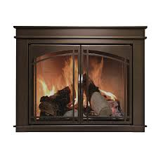 ... Pleasant Hearth Fenwick Oil Rubbed Bronze Large Cabinet Style Gas Fireplace  Doors With Smoke ...