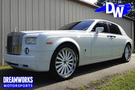 rolls royce phantom white with black rims. white on rolls royce phantom for chris wilcox customized by dreamworks motorsports features 24u201d tis wheels painted and wrapped in pirelli tires with black rims