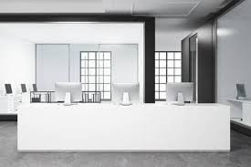 modern white reception desk. Perfect Desk Modern White Office Interior With A Concrete Floor Long Reception  Desk And An On White Reception Desk