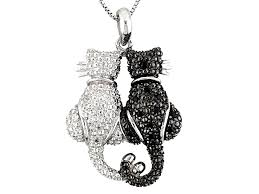black spinel sterling silver cats pendant with chain 18ctw swi739 jtv com
