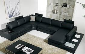 Modern Sectional Couch Black Bonded Leather Sofa With Light Modernlivingroom Intended Ideas