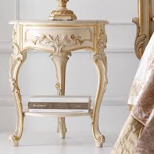 ornate ivory and gold italian small round bedside table