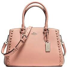 Coach Rivets Leather Laquer Studded Medium Satchel Bag Handbag Purse - Nude  Pink