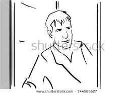 open door drawing. A Man Looks Out Of An Open Door Black And White Sketch. Simple Drawing. Drawing .