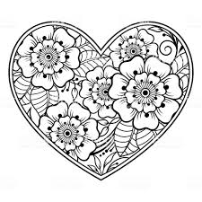 Mehndi Bloemenpatroon In Vorm Van Hart Met Lotus Voor Henna Tekening