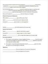 Business Investment Agreement Template Deviceart Info
