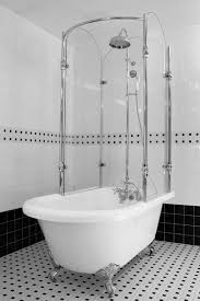 excellent chrome finished faucet and white clawfoot tub shower conversion kit with silver legs for fabulous white bathroom design