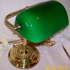 image of vintage bankers desk lamp glass shade