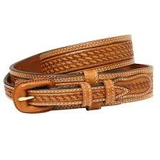 vogt mens russet brown hand tooled leather ranger belt