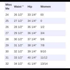 Womens Jean Sizes Online Charts Collection
