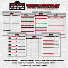 Itinerary Sheet Plan Your Star Wars Celebration Experience Patty Hammond