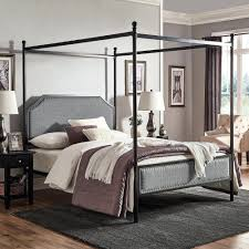 Canopy Bed Frame Queen Grey Upholstered Metal Canopy Queen Bed By ...