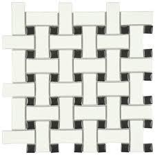 black and white tile floor. Merola Tile Metro Basket Weave Matte White And Black 10-1/2 In. Floor