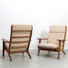 High Back Chair Designs Set Of 2 Hans Wegner Ge 290 High Back Chairs In Oak Original Upholstery