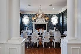 expensive dining room furniture. luxurious dining room with blue walls white ceiling massive chandelier over dark table expensive furniture 6
