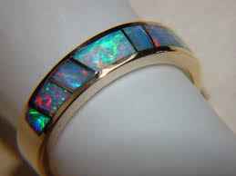 australian opal crystal in 5mm wide 14 karat gold ring images of