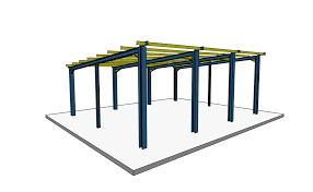 monopitch steel building 3d visualisation single slope roof steel hall