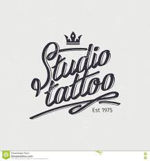 Studio Tattoo Retro Logo With Crown Stock Vector Illustration Of