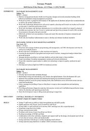 Data Management Resume Sample Database Management Resume Samples Velvet Jobs