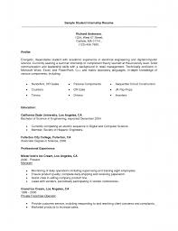 Resume Writing For Engineering Students College Student Resume For Internship Example Engineering