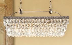 image of rectangular crystal chandelier lighting