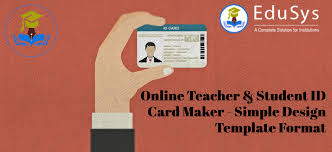 Identity Card Format For Student Online Teacher Student Id Card Maker Simple Design Template Format