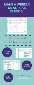 Excel Weekly Meal Planner Pin By Kim Johnson On Menu Planning In 2019 Meal Planner Meals