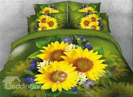 68 onlwe 3d sunflowers with blue flowers printed 4 piece green bedding sets duvet covers