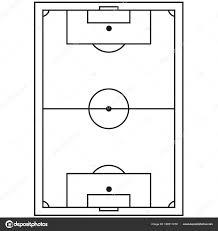 Lijn Kunst Zwart Wit Voetbal Veld Pictogram Stockvector Bessyana