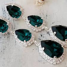 emerald green crystal long chandelier earrings drop earrings d