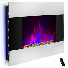 wall mount electric fireplace heater. Wall Mount Electric Fireplace Heater In Stainless Steel With Tempered Glass, Pebbles, Logs And Remote Control