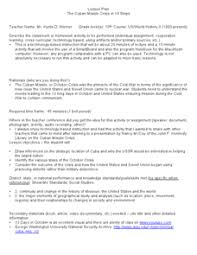 the n missile crisis in steps th grade lesson plan  the n missile crisis in 10 steps lesson plan