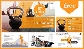 Workout With Kettle Bell Powerpoint Templates