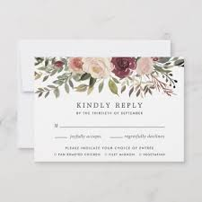 Rsvp Card Sizes Rustic Bloom Rsvp Card With Meal Choice