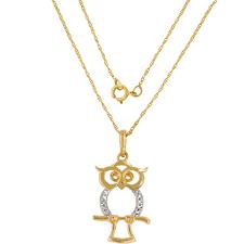 14k owl pendant 18 in