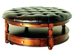 round leather and wood ottoman round leather ottoman cocktail ottoman round round leather ottoman tufted cognac