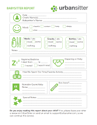 Babysitter Report Form Printable Urbansitter