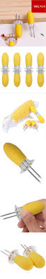 WOFO BBQ Food Skewers Yellow Hot Dog Meat Forks Stainless Steel Corn  Barbecue Accessories Grill Tools