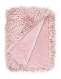 vue kenya faux fur throw in pink